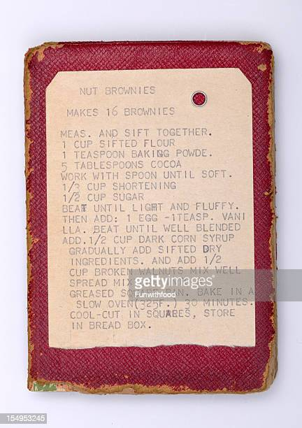Brownie Baking Recipe Ingredients & Old Fashioned Index Card & Leather Cookbook