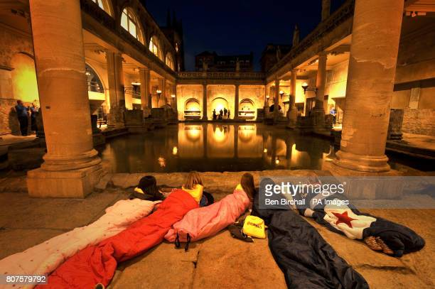 Brownies from the Saltford pack are tucked into their sleeping bags as they look over the hot spring waters of the Great Bath becoming the first ever...