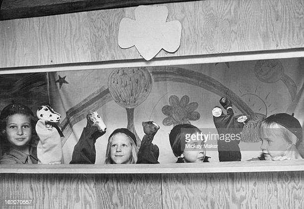 MAR 1 1973 MAR 14 1973 Brownies Put On Puppet Show For Kindergartners 'The Four Horsemen' from left Arlyne Vernon Cindy Peterson Alisa Anson and...