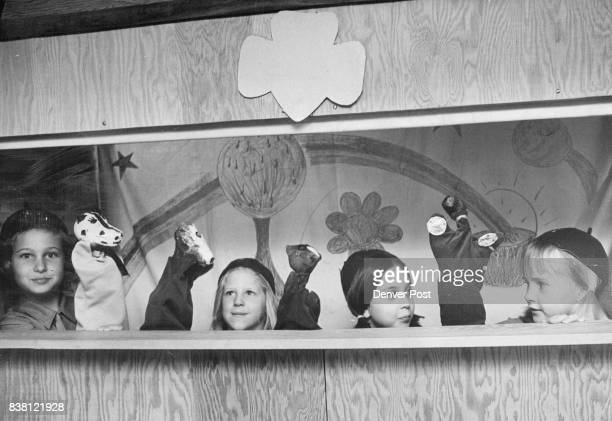 Brownies Put On Puppet Show For Kindergartners 'The Four Horsemen' from left Arlyne Vernon Cindy Peterson Alisa Anson and Jamie Boh were among...