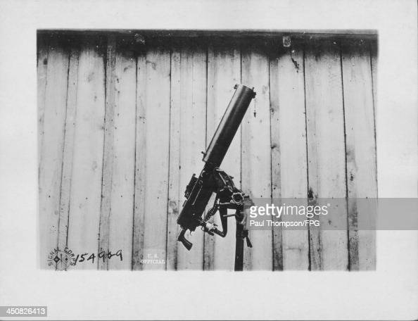 A Browning machine gun for antiaircraft work during World War One Chaumont France circa 19141918