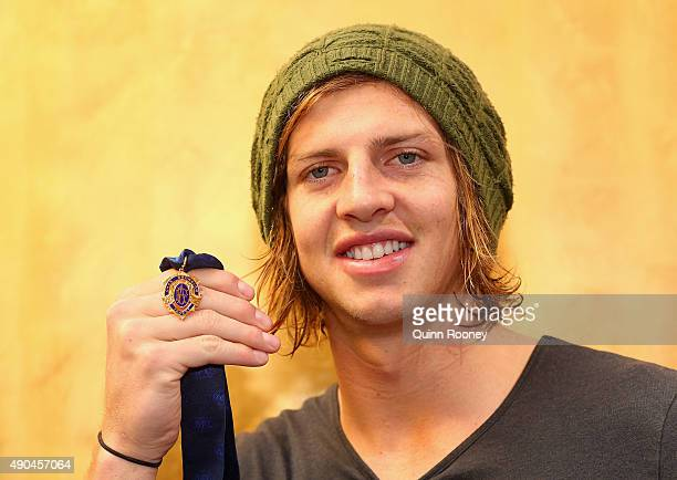 Brownlow Medal winner Nat Fyfe of the Dockers poses during a media opportunity at Crown Entertainment Complex on September 29 2015 in Melbourne...