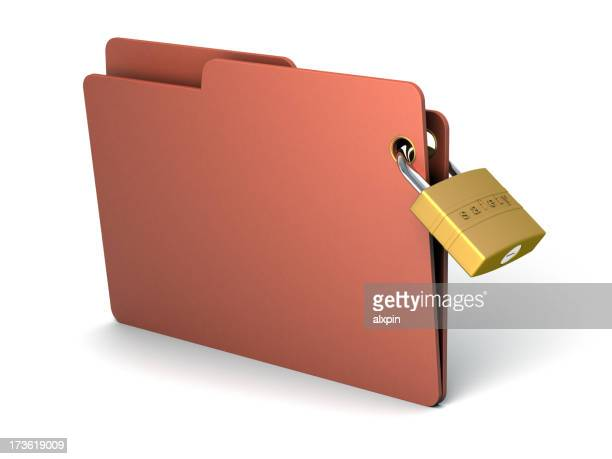 3D brown-red folder with a golden lock