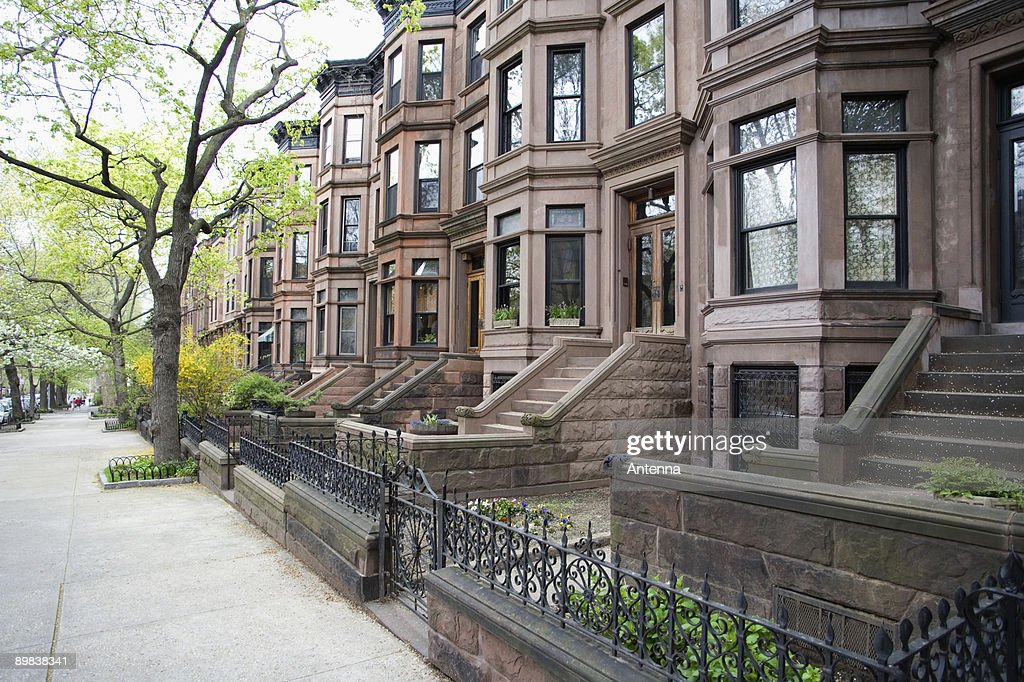 brownstone townhouses brooklyn new york city stock photo getty images. Black Bedroom Furniture Sets. Home Design Ideas