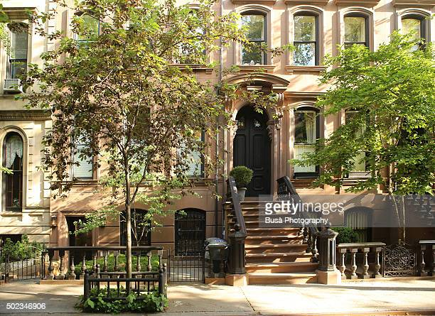 Brownstones in a quiet residential street in Manhattan, New York City