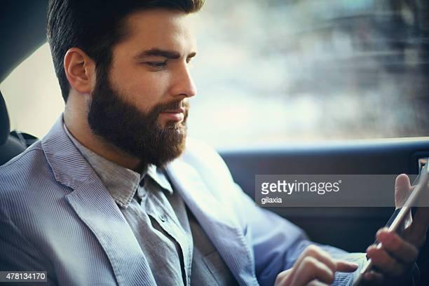 Browsing while riding to work.