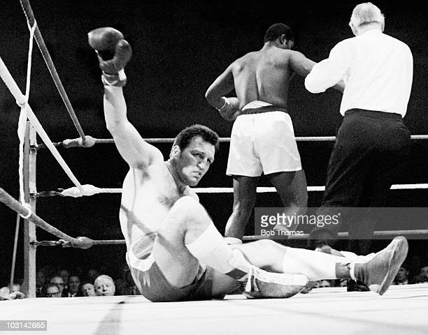 Brritish heavyweight boxer Brian London is knocked down during his defeat by Jim Fletcher at the Liverpool Arena Merseyside 10th April 1969