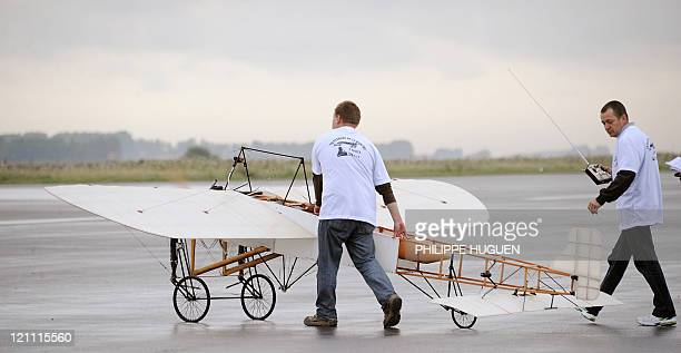 BruayenArtois' club aeromodelers get ready to make a 12 scale replica of original Louis Bleriot monoplane flying from the airfield of the French...