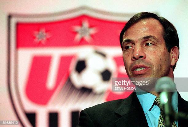 Bruce Arena answers questions at a press conference 27 October in New York after being named as new head coach of the US men's national soccer team...