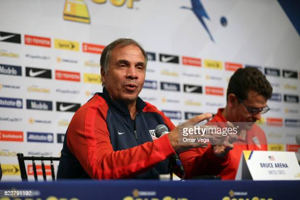 Bruce Arena coach of the USA speaks during the United States National Team press conference prior to the final match against Jamaica at Levi's...