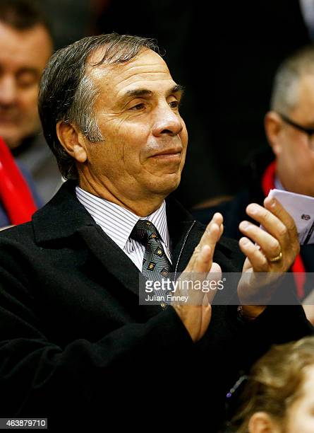 Bruce Arena the coach of the Los Angeles Galaxy looks on during the UEFA Europa League Round of 32 match between Liverpool FC and Besiktas JK at...