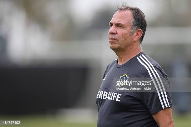 Bruce Arena the head coach / manager during the LA Galaxy training session after the LA Galaxy training session on August 21 2015 in Los Angeles...