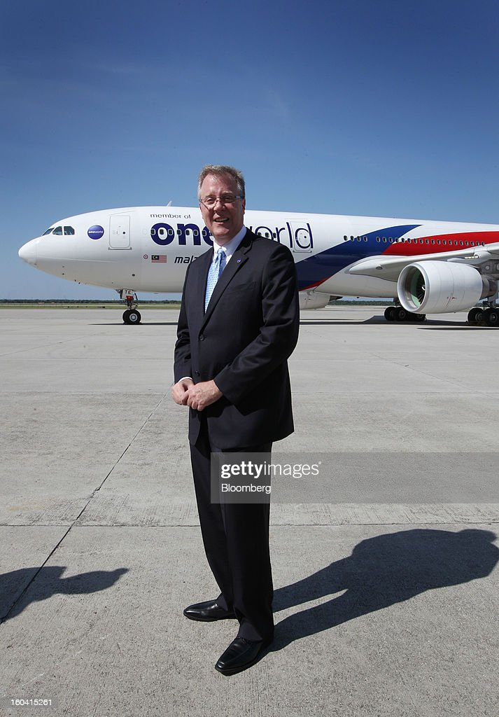 Bruce Ashby, chief executive officer of Oneworld, stands for a photograph at the unveiling of Oneworld livery on Malaysian Airline System Bhd. (MAS) aircraft at Kuala Lumpur International Airport (KLIA) in Sepang, Malaysia, on Thursday, Jan. 31, 2013. Malaysia Airlines joins the Oneworld airline alliance tomorrow. Photographer: Goh Seng Chong/Bloomberg via Getty Images Bruce Ashby