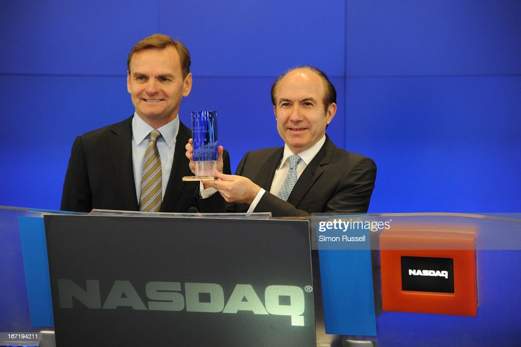 Bruce Aust and Viacom President & CEO Philippe Dauman ring the NASDAQ Stock Market opening bell in honor of Viacommunity Day at the NASDAQ MarketSite on April 22, 2013 in New York City.
