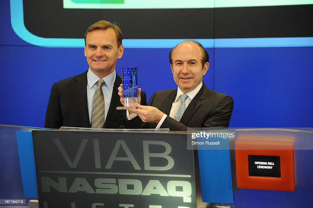 Bruce Aust and Viacom President & CEO <a gi-track='captionPersonalityLinkClicked' href=/galleries/search?phrase=Philippe+Dauman&family=editorial&specificpeople=1381252 ng-click='$event.stopPropagation()'>Philippe Dauman</a> ring the NASDAQ Stock Market opening bell in honor of Viacommunity Day at the NASDAQ MarketSite on April 22, 2013 in New York City.