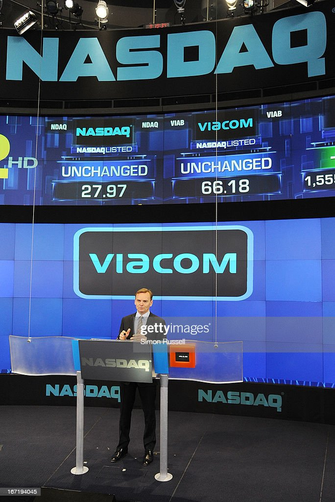 Bruce Aust introduces Viacom President & CEO Philippe Dauman to ring the NASDAQ Stock Market opening bell in honor of Viacommunity Day at the NASDAQ MarketSite on April 22, 2013 in New York City.
