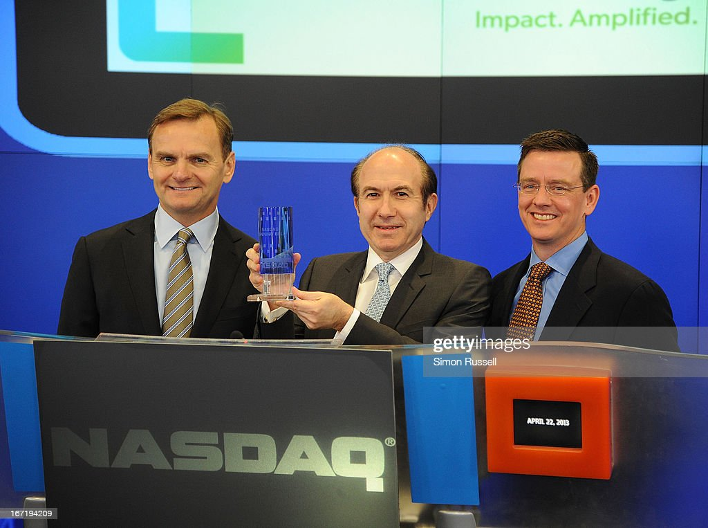 Bruce Aust, Viacom President & CEO Philippe Dauman and Director NASDAQ Robert Phillips ring the NASDAQ Stock Market opening bell in honor of Viacommunity Day at the NASDAQ MarketSite on April 22, 2013 in New York City.