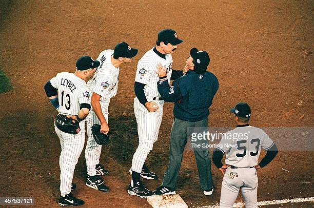 Bruce Bochy of the San Diego Padres argues with an umpire during Game Four of the World Series against the New York Yankees on October 21 1998 at...