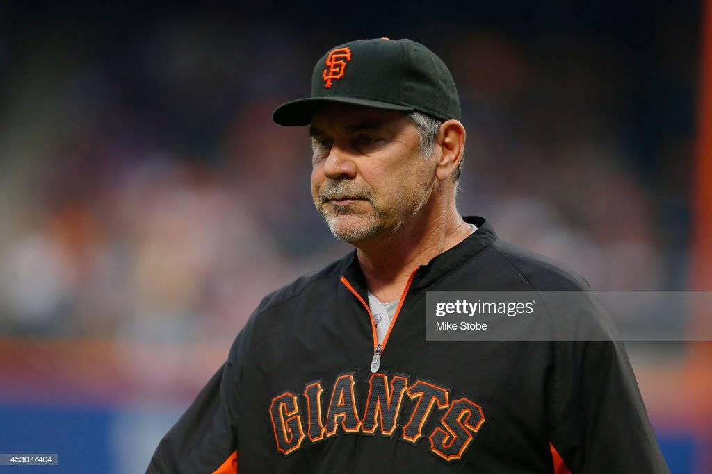 <a gi-track='captionPersonalityLinkClicked' href=/galleries/search?phrase=Bruce+Bochy&family=editorial&specificpeople=220291 ng-click='$event.stopPropagation()'>Bruce Bochy</a> #15 of the San Francisco Giants in action against the New York Mets at Citi Field on August 1, 2014 in the Flushing neighborhood of the Queens borough of New York City. Giants defeated the Mets 5-1.