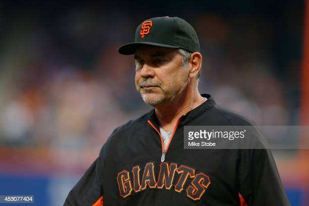 Bruce Bochy of the San Francisco Giants in action against the New York Mets at Citi Field on August 1 2014 in the Flushing neighborhood of the Queens...