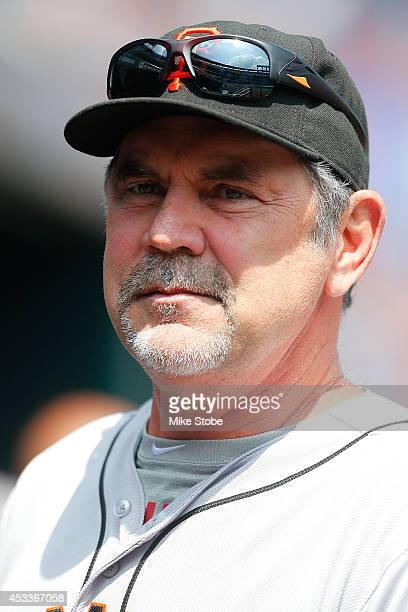 Bruce Bochy of the San Francisco Giants looks on against the New York Mets at Citi Field on August 4 2014 in the Flushing neighborhood of the Queens...