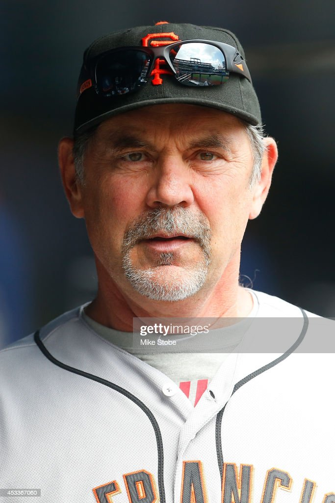 <a gi-track='captionPersonalityLinkClicked' href=/galleries/search?phrase=Bruce+Bochy&family=editorial&specificpeople=220291 ng-click='$event.stopPropagation()'>Bruce Bochy</a> #15 of the San Francisco Giants looks on against the New York Mets at Citi Field on August 4, 2014 in the Flushing neighborhood of the Queens borough of New York City. Giants defeated the Mets 4-3.