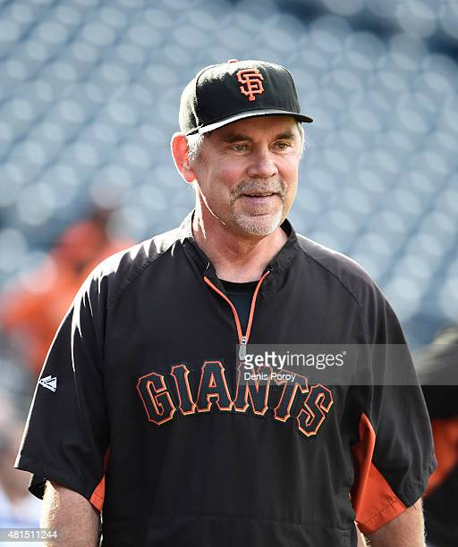 Bruce Bochy of the San Francisco Giants looks on during batting practice before a baseball game against the San Diego Padres at Petco Park July 21...