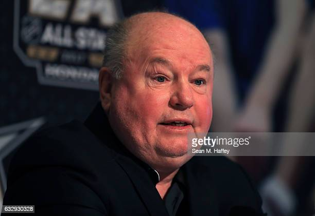 Bruce Boudreau head coach of the Minnesota Wild speaks to the media during 2017 NHL AllStar Media Day as part of the 2017 NHL AllStar Weekend at the...