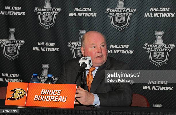 Bruce Boudreau of the Anaheim Ducks answers questions from the media following his team's victory over the Chicago Blackhawks in Game One of the...