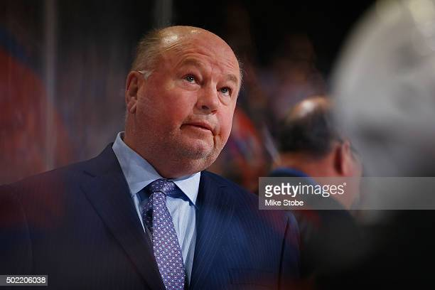 Bruce Boudreau of the Anaheim Ducks looks on during the game against the New York Islanders at the Barclays Center on December 21 2015 in Brooklyn...