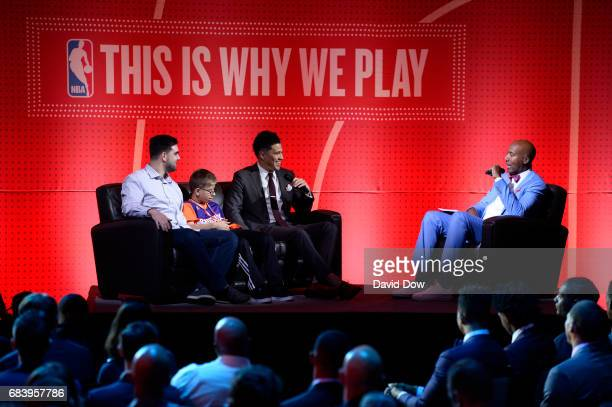 Bruce Bowen interviews Devin Booker of the Phoenix Suns and his guest Noah Smith during the 2017 NBA Draft Lottery at the New York Hilton in New York...