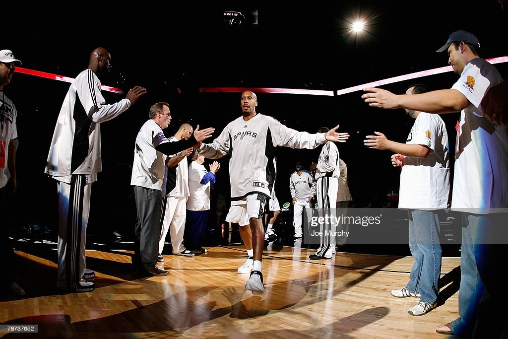 Bruce Bowen #12 of the San Antonio Spurs is introduced before the game against the Dallas Mavericks on December 5, 2007 at the AT&T Center in San Antonio, Texas. The Spurs won 97-95.