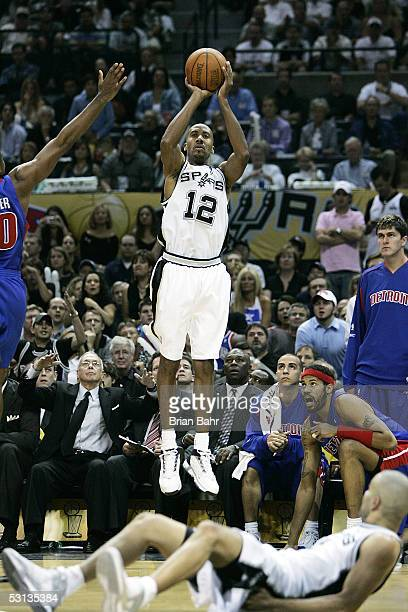 Bruce Bowen of the San Antonio Spurs shoots a jump shot in the first half against the Detroit Pistons in Game six of the 2005 NBA Finals at SBC...