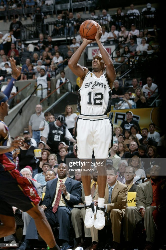 Bruce Bowen #12 of the San Antonio Spurs shoots against the Cleveland Cavaliers during Game 2 of the 2007 NBA Finals on June 10, 2007 at the AT&T Center in San Antonio, Texas.