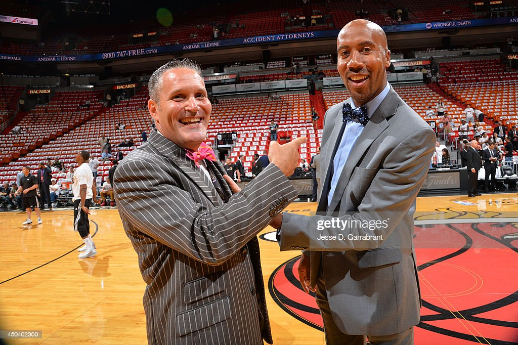 <a gi-track='captionPersonalityLinkClicked' href=/galleries/search?phrase=Bruce+Bowen&family=editorial&specificpeople=201662 ng-click='$event.stopPropagation()'>Bruce Bowen</a> shares a laugh before Game Three of the 2014 NBA Finals between the San Antonio Spurs and the Miami Heat on June 10, 2014 at American Airlines Arena in Miami, Florida.