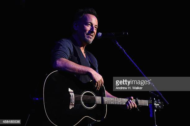 Bruce Bruce Springsteen performs on stage at 2014 Stand Up For Heroes at Madison Square Garden at Madison Square Garden on November 5 2014 in New...