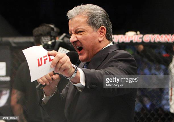 Bruce Buffer during the UFC Fight Night at the Olympic Park Gymnastics Arena on November 28 2015 in Seoul South Korea