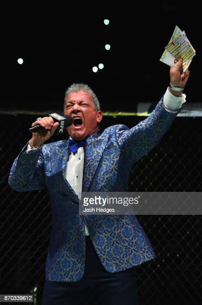 Bruce Buffer introduces the UFC middleweight championship bout between Georges StPierre of Canada and Michael Bisping of England during the UFC 217...
