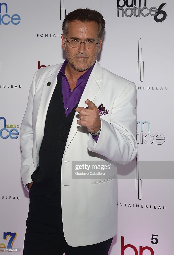<a gi-track='captionPersonalityLinkClicked' href=/galleries/search?phrase=Bruce+Campbell&family=editorial&specificpeople=2001663 ng-click='$event.stopPropagation()'>Bruce Campbell</a> arrives at wrap party for 'Burn Notice' at Fontainebleau Miami Beach on July 27, 2013 in Miami Beach, Florida.