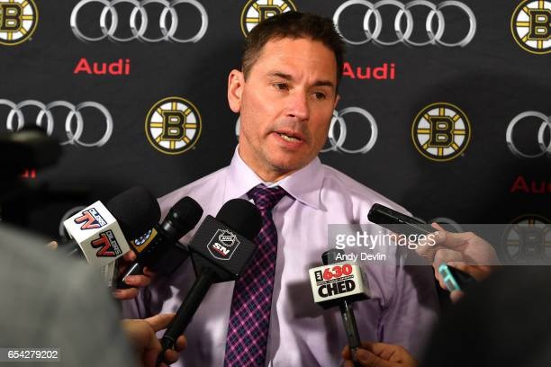 Bruce Cassidy of the Boston Bruins answers questions following the game against the Edmonton Oilers on March 16 2017 at Rogers Place in Edmonton...