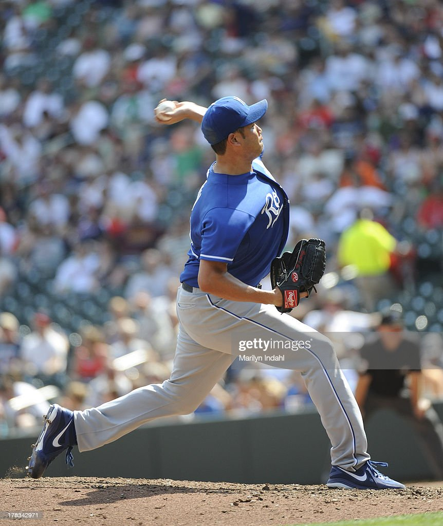 <a gi-track='captionPersonalityLinkClicked' href=/galleries/search?phrase=Bruce+Chen&family=editorial&specificpeople=213886 ng-click='$event.stopPropagation()'>Bruce Chen</a> #52 of the Kansas City Royals delivers a pitch in the sixth inning against the Minnesota Twins at Target Field on August 29, 2013 in Minneapolis, Minnesota. The Royals defeated the Twins 3-1.