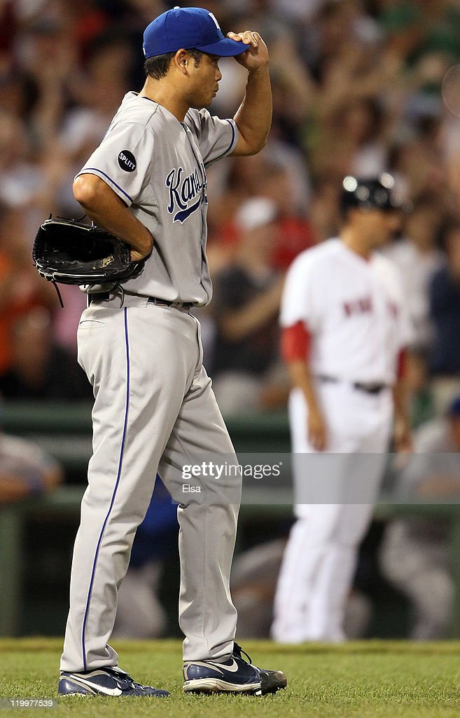 <a gi-track='captionPersonalityLinkClicked' href=/galleries/search?phrase=Bruce+Chen&family=editorial&specificpeople=213886 ng-click='$event.stopPropagation()'>Bruce Chen</a> #52 of the Kansas City Royals reacts after giving up a grand slam to David Ortiz of the Boston Red Sox in the fourth inning on July 27, 2011 at Fenway Park in Boston, Massachusetts.