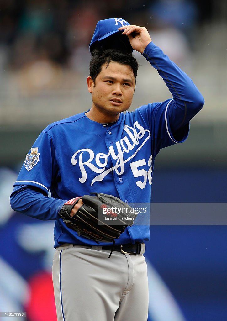 <a gi-track='captionPersonalityLinkClicked' href=/galleries/search?phrase=Bruce+Chen&family=editorial&specificpeople=213886 ng-click='$event.stopPropagation()'>Bruce Chen</a> #52 of the Kansas City Royals reacts during the first inning against the Minnesota Twins on April 29, 2012 at Target Field in Minneapolis, Minnesota.