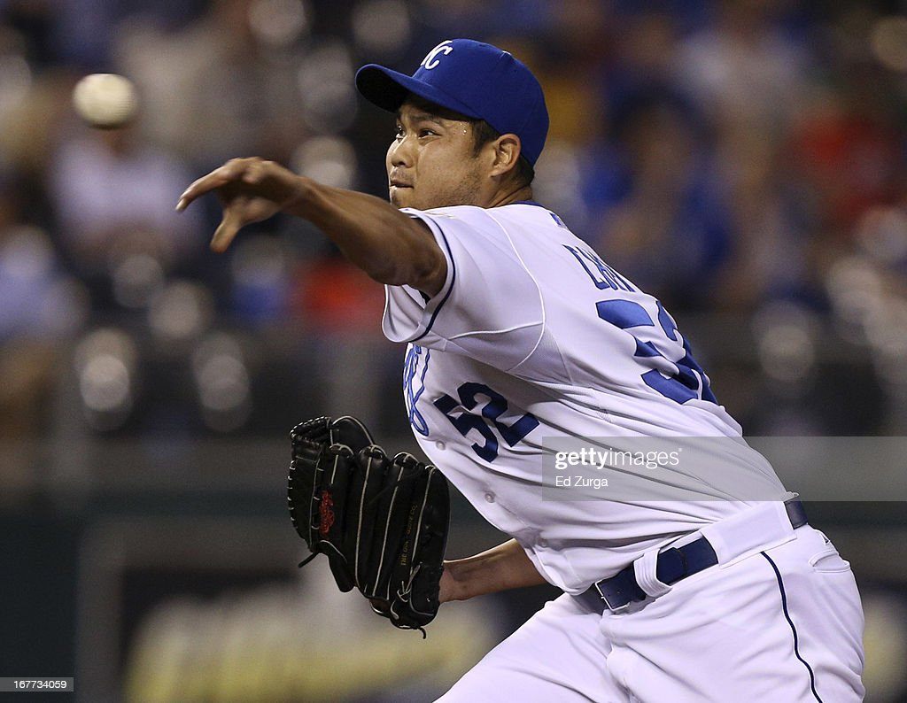 <a gi-track='captionPersonalityLinkClicked' href=/galleries/search?phrase=Bruce+Chen&family=editorial&specificpeople=213886 ng-click='$event.stopPropagation()'>Bruce Chen</a> #52 of the Kansas City Royals throws in the sixth inning against the Cleveland Indians during game two of a doubleheader at Kauffman Stadium on April 28, 2013 in Kansas City, Missouri.