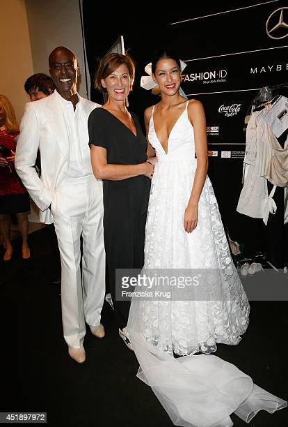 Bruce Darnell designer Eva Lutz and Rebecca Mir attend the Minx by Eva Lutz show during the MercedesBenz Fashion Week Spring/Summer 2015 at Erika...