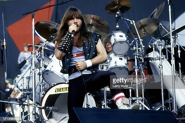 Bruce Dickinson and drummer Clive Burr performing with 'Iron Maiden' at the Oakland Coliseum in California on July 18 1982