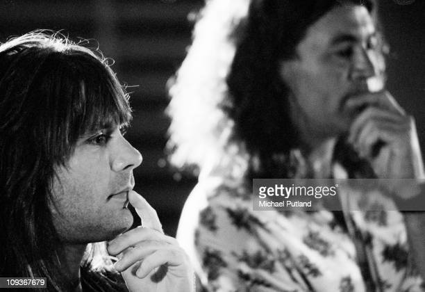 Bruce Dickinson of Iron Maiden and Ian Gillan listen to playback in recoording studio during making of Armenia earthquake appeal record London 1989