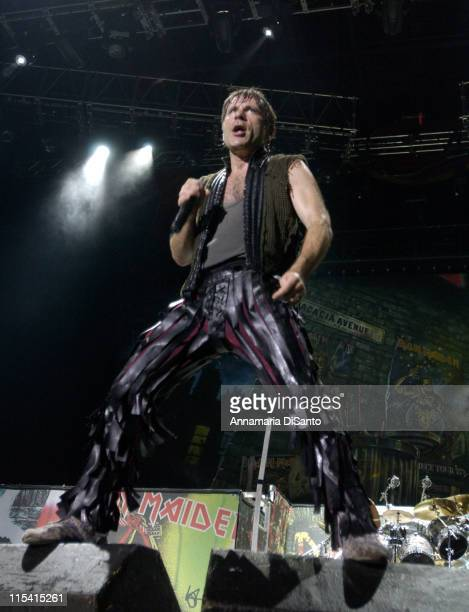 Bruce Dickinson of Iron Maiden during Iron Maiden at Ozzfest 2005 in Devore CA August 20 2005 at Hyundai Pavillion in Devore California United States