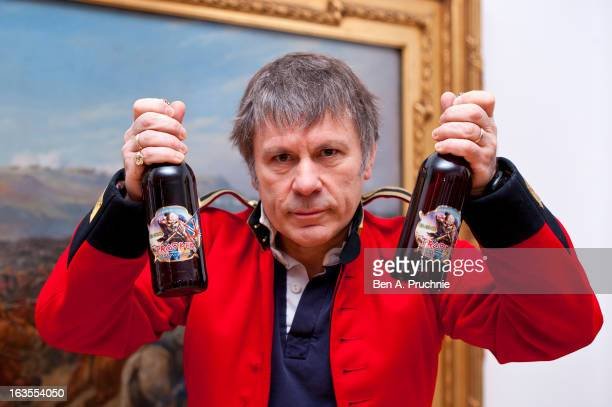 Bruce Dickinson of Iron Maiden launches a new beer named 'Trooper' brewed by Robinsons family brewer in Stockport at National Army Museum on March 12...