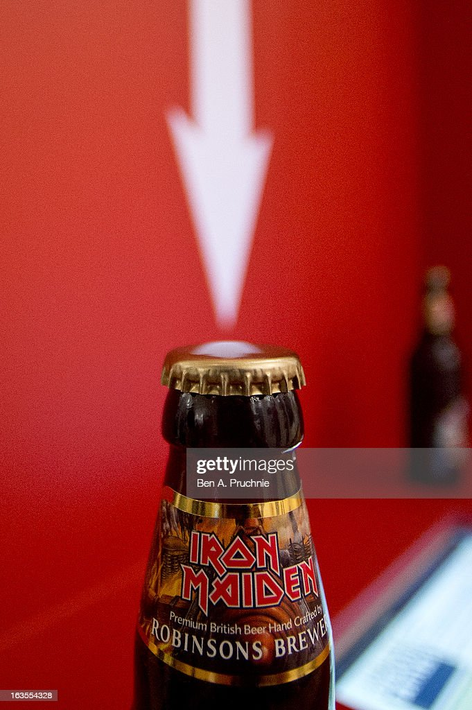 <a gi-track='captionPersonalityLinkClicked' href=/galleries/search?phrase=Bruce+Dickinson&family=editorial&specificpeople=234818 ng-click='$event.stopPropagation()'>Bruce Dickinson</a> of Iron Maiden launches a new beer named 'Trooper', brewed by Robinsons family brewer in Stockport, at National Army Museum on March 12, 2013 in London, England.